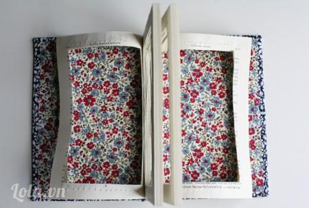 Dán hai miếng vải vintage vào hai bìa sách như hình