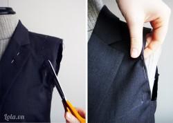 Cắt hai ống tay của áo vets, gấp và khâu phần vải thừa còn lại như hình