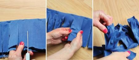 Bắt đầu cắt phần mép giấy, không cắt hết mà trừ lại một chút, cuối cùng là làm nhăn mặt giấy
