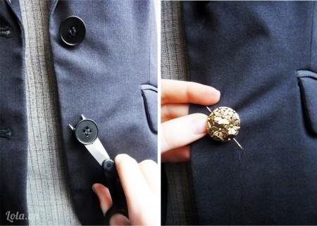 Cắt và tháo bỏ các nút áo cũ và thay vào đó là các nút áo mới như hình