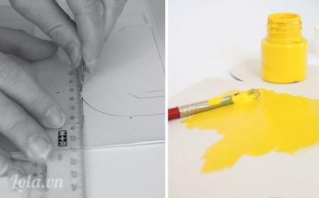 Dùng dao rọc giấy cắt bỏ những phần thừa của mô hình , sau đó dùng cọ quẹt sơn tô lên khắp bề mặt ngoài của hộp để khô trong vài giờ
