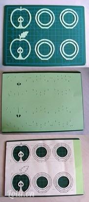 Dùng dao trổ khoét bỏ những chi tiết nhỏ cần để hổng như hạt táo chẳng hạn. Khoét qua hai lớp mẫu giấy và bìa. Sau đó rạch các đoạn ngắn theo hình in. Đây là hình ảnh mặt sau của tấm bìa sau khi bạn khoét hạt táo và rạch các khe cài.  Tiếp tục khoét các vòng tròn giấy trong cùng của mẫu hình quả táo. Cách một đường cung tròn theo quả táo bạn lại khoét bỏ một cung ở giữa. Vứt bỏ phần giấy và bìa thừa ngoài hình quả táo. Xếp riêng các hình đã khoét được bạn sẽ có những phần bìa bên của mô hình