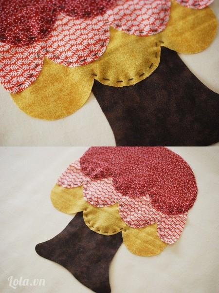 Khi bạn khâu đến mẫu vải cuối cùng, bạn chỉ nên khâu phần ở giữa ( phần hình sò điệp như trong hình)