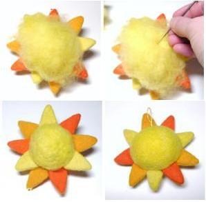 Lấy 1 ít len màu vàng phủ xung quanh để che lại các phần len dư rồi dùng kim chọc.