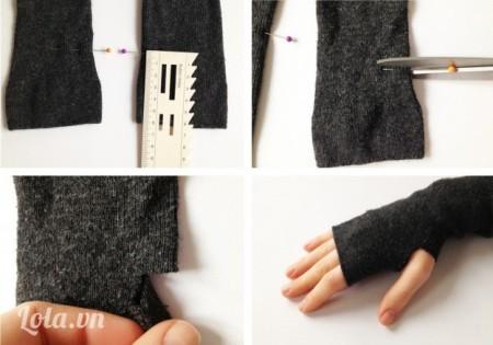 Đo kích thước hai cạnh của chiếc tất bằng với nhau, dùng kéo cắt hai góc cạnh ở hai bên vớ kích thước 1,5cm, đủ để bạn có thể cho ngón cái đưa được ra ngoài như hình