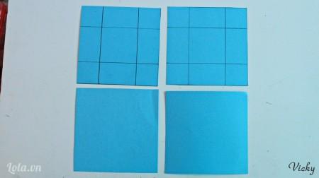 Cắt giấy bìa màu thành 4 mảnh kích thước 11cm*11cm và chia đều theo tỉ lệ 3:5:3 như hình