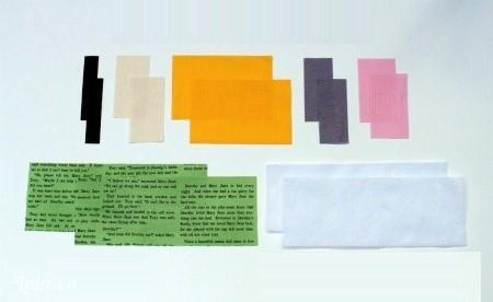 """Cắt vải cotton thành kích thước như sau :Đen – 1.25x3.5 """"Kem – 1.75"""" x 3.5""""Vàng – 6""""x3.5""""Nâu – 1.5""""x3.5""""Xanh – 10.25"""" x 3.5 """"Lót keo : 10.25""""x3.5"""""""