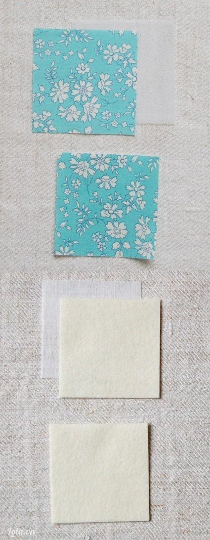 Cắt các vải cotton, vải nỉ, miếng lót keo ra thành những miếng vuông
