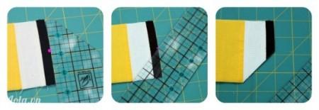 Dùng thước kẽ bạn cắt xén một đường hình tam giác