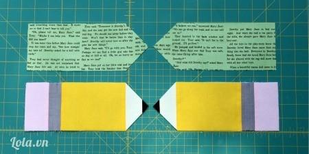Bạn cắt tiếp vải tờ giấy báo thành hình bút chì như sau