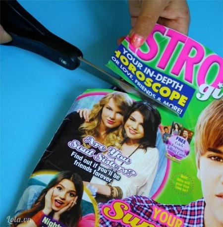 Cắt hình ảnh từ tạp chí mà bạn thích rồi dán lên trên hộp bút .