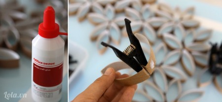 Tạo hình cánh hoa như trong hình và đồng thời dính keo để liên kết các hình lại với nhau .