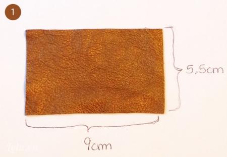 Bạn cắt 6 miếng da có kích thước: 9 x 5.5cm
