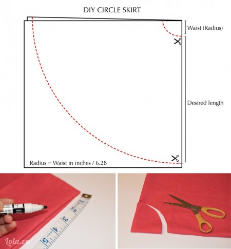 Gấp đôi vải lại và cắt nó theo chiều như hình trên, tiếp đến bạn đo số eo của mình và cắt một góc nhỏ như hình