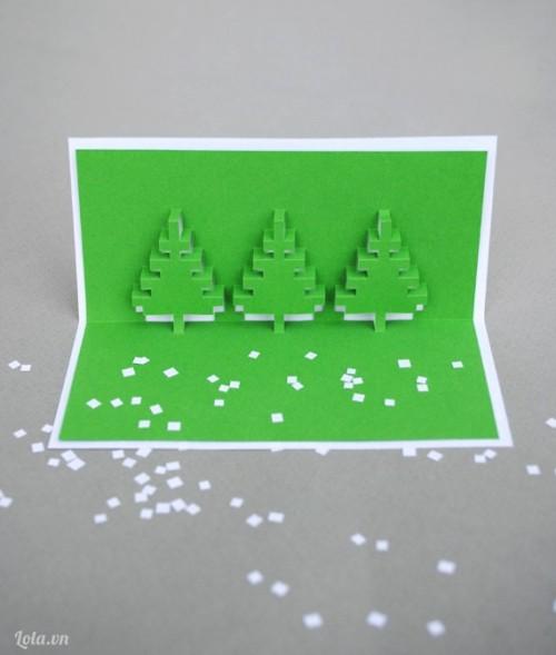 Làm thiệp 3D hình cây thông nhanh gọn