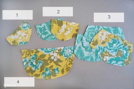 Bạn cắt vải theo họa tiết mẫu túi có sẵn