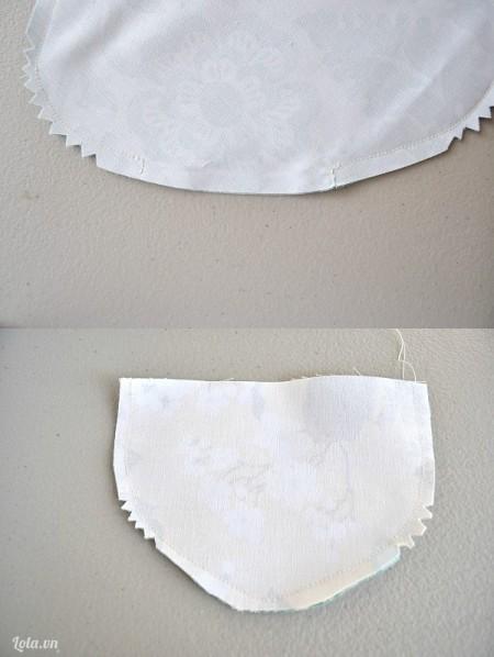 May dính các đường lại, dùng kéo cắt tỉa theo hình răng cưa