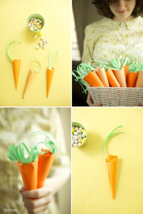 Làm túi dựng kẹo hình củ cà rốt