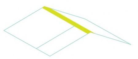 Từ thùng giấy khác bạn cắt bắt kỳ phần top nào của thùng ra để làm mái nhà kích thước chiều ngang  như thùng giấy ban đầu sau đó dán lại với nhau như trong hình