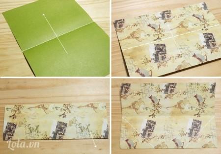 Cắt vát ngang hộp để tạo dáng xiên chéo cho miệng hộp đựng bút, một thành không cắt bằng hết theo 3 cạnh còn lại mà để nhô cao lên chừng 3cm – 5cm làm thành trụ chính giữa.  Dán hai hộp chung nhau ở thành trụ giữa và dán bọc vảỉ phủ bên ngoài thành hộp đã ghép. Bạn dán bằng keo sữa hay loại băng dính, đề can dán hai mặt đều được, dán từng thành hộp và cắt bỏ vải thừa hoặc gập mép gọn lại và dán kín vào phía trong thành hộp.