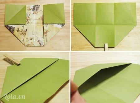 Cắt dải vải hình chữ nhật vừa bề ngang thành trụ giữa và gấp đôi chiều dọc để còn dán phủ liền sang hai mặt thành. Khi dán nhớ miết phẳng vải.