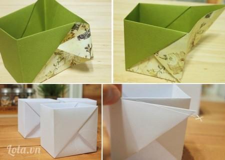 Dán thêm một vuông vải nhỏ có họa tiết đẹp (hài hòa với màu vải dán bọc hộp bút) vào mặt trước hộp bút để trang trí sinh động, bạn có thể dán vuông vải thêu tên mình, thêu tên đồ được sử dụng trong hộp hay tùy ý sáng tạo