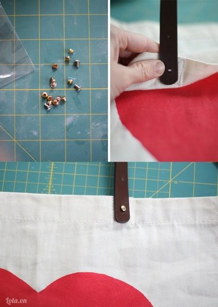 Cắt hai đoạn dây vải của túi xách ra