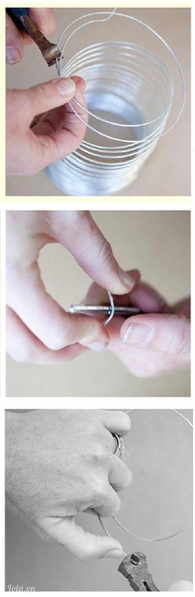 Cắt một đoạn thép dùng để làm vòng quay cho bình hoặc lo