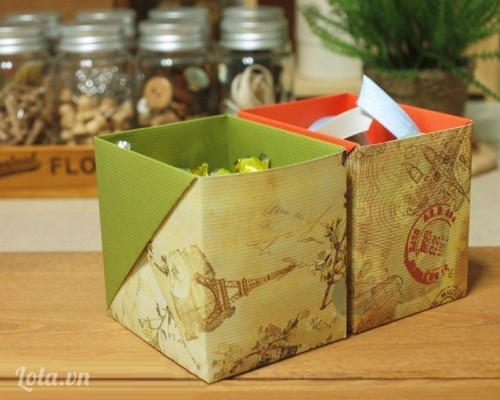 Làm hộp đựng bút từ hộp sữa giấy