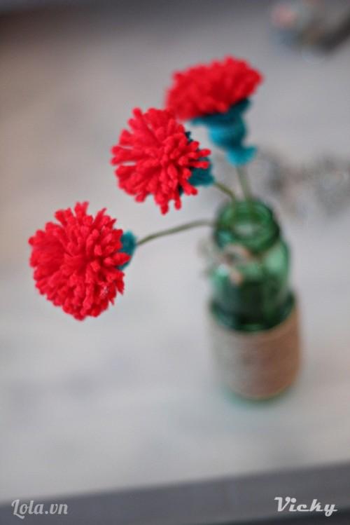 Làm hoa Cẩm Chướng từ len