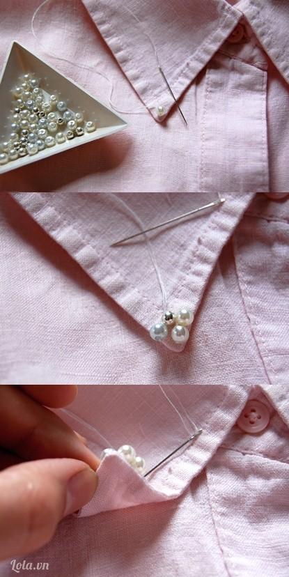 May các hạt cườm lên trên áo theo kiểu đã định sẵn
