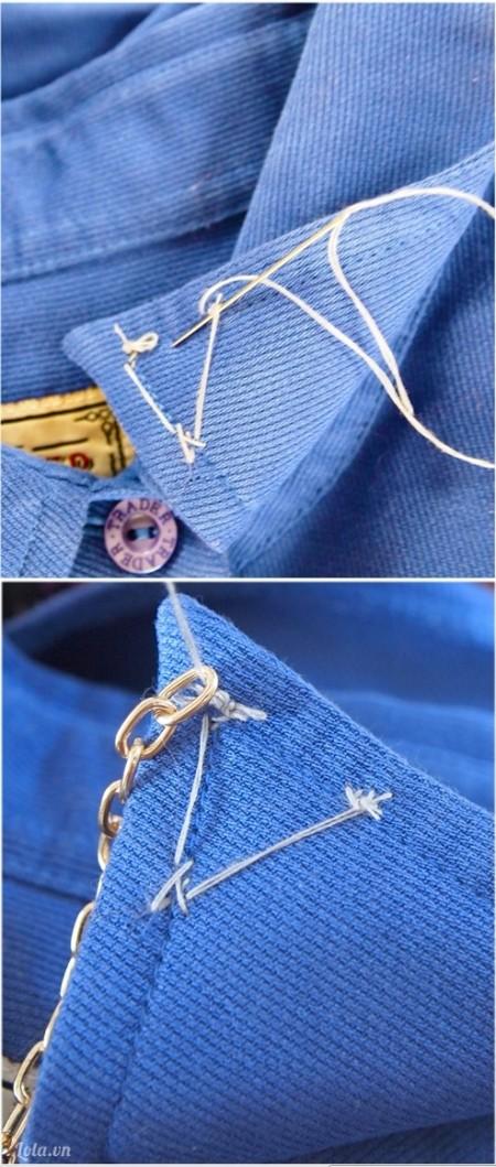 Dùng kim chỉ may hàng dây xích vào cổ áo, mối nối bạn lật vào phía bên trong như trong hình nhé