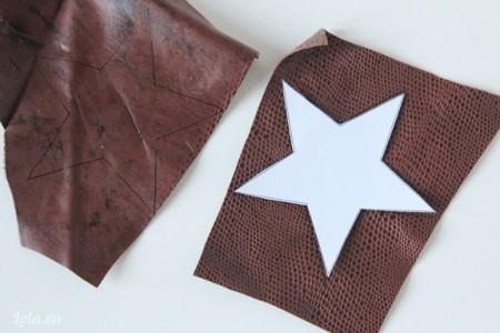 Cắt hình ngôi sao trên vải da