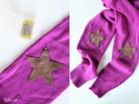 Cắt vải da theo hình ngôi sao và ướm lên khửu tay áo len, lấy kim giữ chỗ đính lại