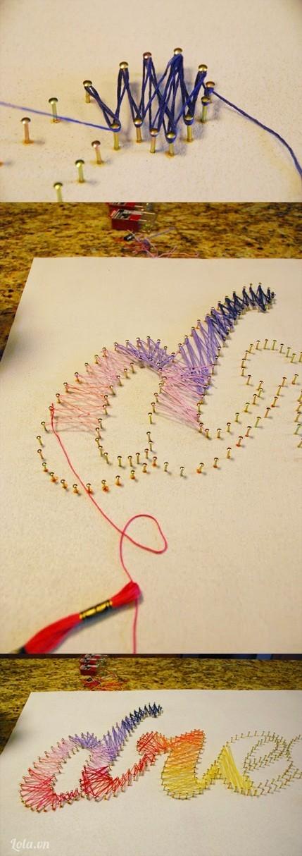 Móc chỉ vào đinh và bắt đầu quấn theo đường zig-zang, bạn phối màu các loại chỉ để có được một một bức tranh 7 sắc cầu vòng