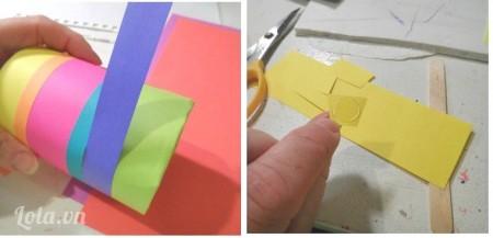 Bạn cắt giấy màu theo chiều dài , từng màu khác nhau sau đó dùng băng keo hai mặt dán dọc theo tờ giấy và dán dọc theo chiều ngang của lon. Bạn làm lần lượt từng màu khác nhau cho đến khi bọc hết phần thân của lon.