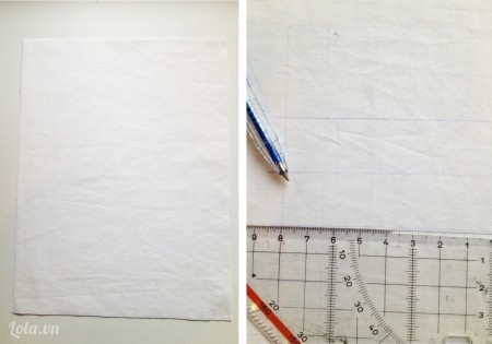 Cắt vải trắng cho kích thước bằng khung hình và kẻ các vạch ngang với khoảng cách nhau hai hình