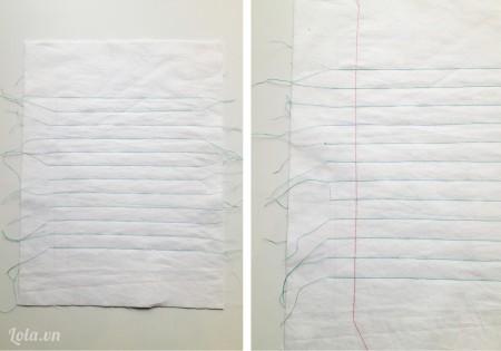 Tương tự như vậy bạn khâu cho hết các đoạn vạch kẻ sẵn trên mảnh giấy , cuối cùng may một đường chỉ màu đỏ dọc miếng vải như hình