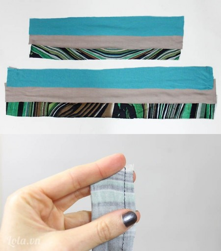 Bạn cắt ba mảnh vải với chiều dài và rộng là 14cm nhân 2 cm và 3 mảnh vải với chiều dài và rộng 16cm nhân 2 cm. Trên mỗi mảnh vải các bạn may một đương thẳng để tạo thành một đường ống. Tương tự với các mảnh vải còn lại bạn làm như thế