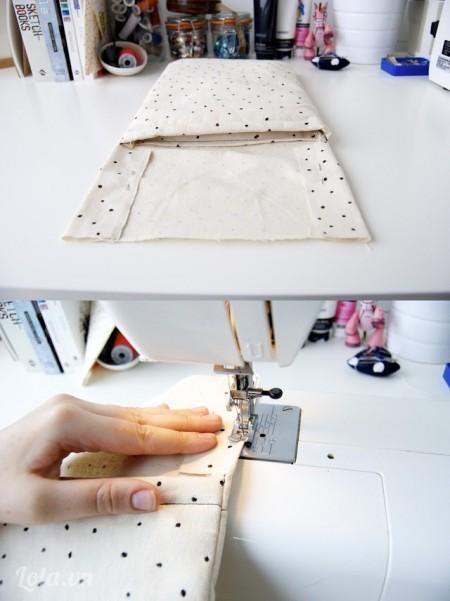 Tiếp thep đó bạn lấy kim, đánh dấu các mép của túi và khâu như trong hình. Cuối cùng bạn sẽ có được một sản phẩm túi xách như ý  Ngoài ra bạn có thêm một số phụ kiến đi kèm, để túi xách thêm đẹp và lạ mắt hơn