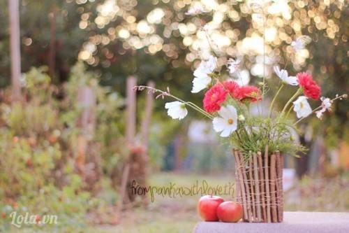 Làm bình hoa gỗ vụn cực dễ thương