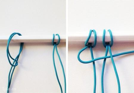 Chia đôi hai dây ra và thắt chúng lên phần thân của bút chì, tiếp đến đặt một dây bên trái vào giữa phần trung tâm của dây bên phải