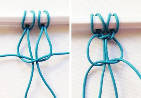 Tương tự như vậy bạn cho một dây bên phải vào giữa phần trung tâm của hai dây bên trái  và thắt nó lại. Tiếp tục bạn thắt nút thứ hai tương tự như thế