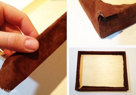 Cắt một tấm vải da bọc hộp gỗ hoặc hộp nhựa lại , đối với các phần ở góc bạn nhớ thêm nhiều keo để chúng liên kết với nhau được chắc hơn