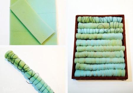 Cắt dải xốp theo chiều rộng của hộp, cuộn trong chúng lại và sắp xếp chúng lại theo thứ tự và dính keo như hình