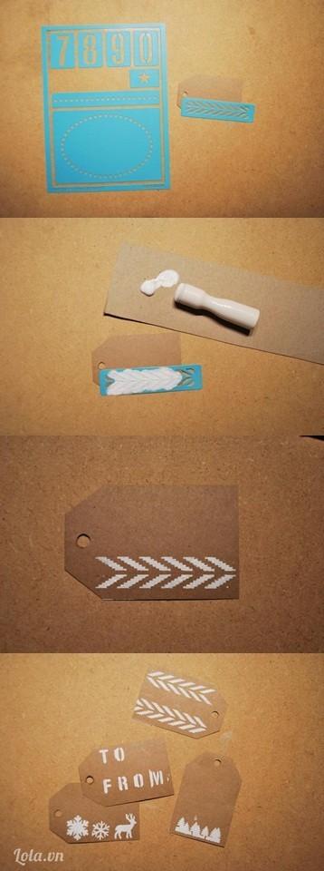 Lấy khuôn giấy và quét sơn lên tấm giấy nhỏ và chờ khô