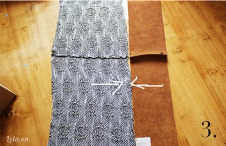May các mảnh vải lại với nhau và may ở chiều bên trái của vải
