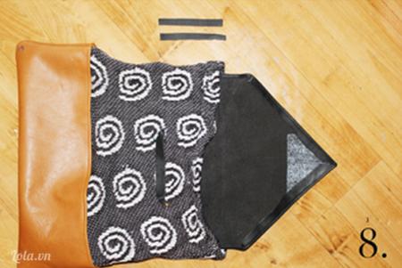 Cắt một mảnh vải ra và gấp thành hình tam giác như trong hình và khâu các mép viền lại với nhau