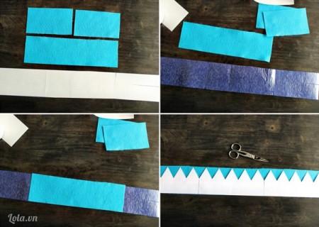 Sau khi dính hai tấm vải nỉ lại với nhau, bạn dùng mẫu mô hình vương niệm có sẵn để ướm với mẫu vải trên .